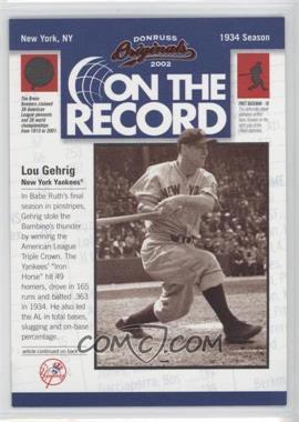 2002 Donruss Originals [???] #OR-3 - Lou Gehrig /800