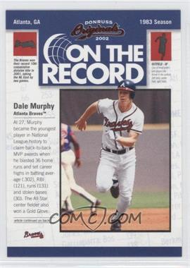 2002 Donruss Originals [???] #OR-4 - Dale Murphy /800