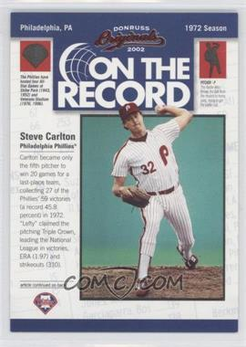 2002 Donruss Originals [???] #OR-5 - Steve Carlton /800