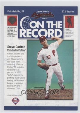 2002 Donruss Originals [???] #OR-5 - Steve Carlton /800