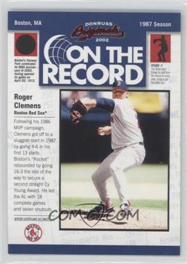 2002 Donruss Originals [???] #OR-8 - Roger Clemens /800