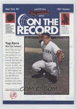 2002 Donruss Originals [???] #OR-9 - Yogi Berra /800