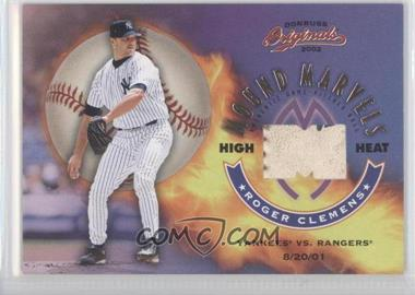 2002 Donruss Originals Mound Marvels Jerseys [Memorabilia] #MM-1 - Roger Clemens /100