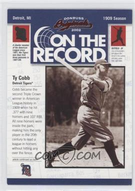 2002 Donruss Originals On the Record #OR-1 - Ty Cobb /800
