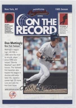 2002 Donruss Originals On the Record #OR-10 - Don Mattingly /800