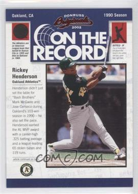 2002 Donruss Originals On the Record #OR-11 - Rickey Henderson /800