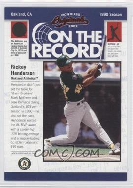 2002 Donruss Originals On the Record #OR-11 - Rickey Henderson /800
