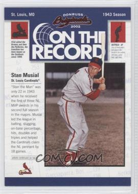 2002 Donruss Originals On the Record #OR-12 - Stan Musial /800