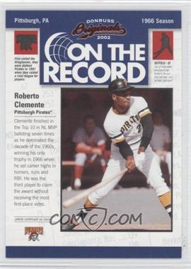 2002 Donruss Originals On the Record #OR-14 - Roberto Clemente /800