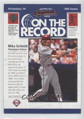 2002 Donruss Originals On the Record #OR-15 - Mike Schmidt /800