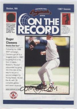 2002 Donruss Originals On the Record #OR-8 - Roger Clemens /800