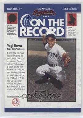 2002 Donruss Originals On the Record #OR-9 - Yogi Berra /800