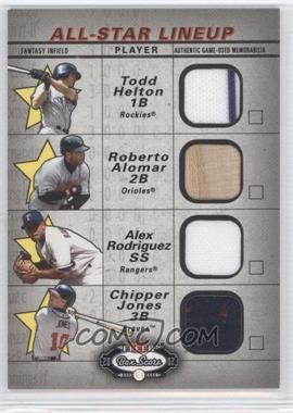 2002 Fleer Box Score - All-Star Lineup Game Used #HARJ - Todd Helton, Roberto Alomar, Alex Rodriguez, Chipper Jones