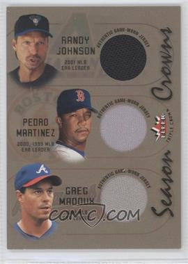 2002 Fleer Triple Crown Season Crowns Triple Memorabilia #N/A - Randy Johnson, Greg Maddux, Pedro Martinez /100