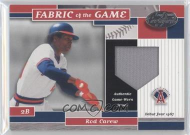 2002 Leaf Certified - Fabric of the Game - Silver Die-Cut Plate #FG 52 - Rod Carew /67