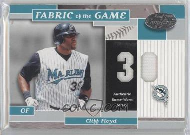 2002 Leaf Certified Fabric of the Game Silver Die-Cut Jersey Number #FG 96 - Cliff Floyd /30