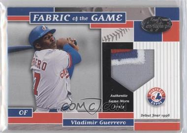2002 Leaf Certified Fabric of the Game Silver Die-Cut Plate #FG 140 - Vladimir Guerrero /96