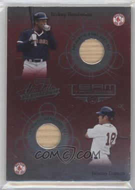 2002 Playoff Absolute Memorabilia Team Tandems Materials #TT-35 - Rickey Henderson, Johnny Damon