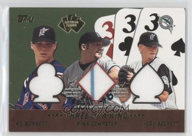 2002 Topps 5 Card Stud Relics Three of a Kind #5T-BDB - A.J. Burnett, Ryan Dempster, Josh Beckett