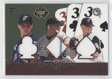 2002 Topps 5 Card Stud Relics Three of a Kind #5T-BDB - A.J. Burnett, Ryan Dempster, Josh Beckett