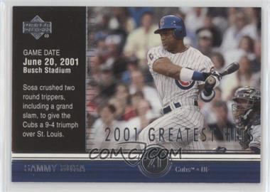 2002 Upper Deck - 2001's Greatest Hits #GH9 - Sammy Sosa