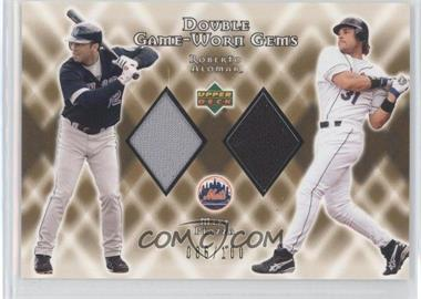 2002 Upper Deck - Double Game-Worn Gems - Gold #DG-AP - Mike Piazza, Roberto Alomar /100