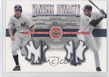 2002 Upper Deck - Yankees Dynasty Game-Used Materials Combos #YJ-BJ - Scott Brosius, David Justice