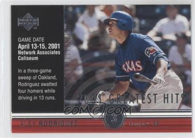 2002 Upper Deck 2001's Greatest Hits #GH5 - Alex Rodriguez