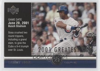 2002 Upper Deck 2001's Greatest Hits #GH9 - Sammy Sosa