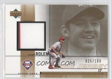 2002 Upper Deck Game-Used Jerseys Gold #SR - Scott Rolen /100