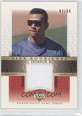 2002 Upper Deck Honor Roll Game Jersey Gold #JAR4 - Alex Rodriguez /99