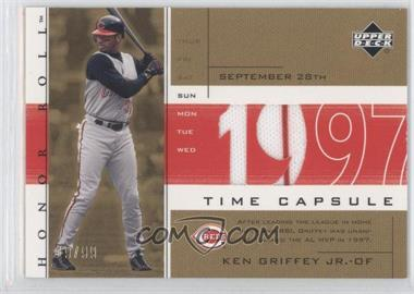 2002 Upper Deck Honor Roll Time Capsule Game Jersey Gold #TC-KG2 - Ken Griffey Jr. /99