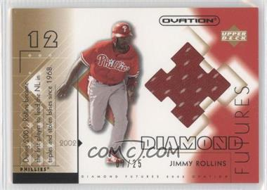 2002 Upper Deck Ovation Diamond Futures Jerseys Gold #DF-JR - Jimmy Rollins /25