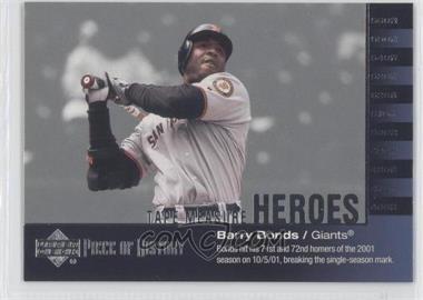 2002 Upper Deck Piece Of History - Tape Measure Heroes #TM25 - Barry Bonds