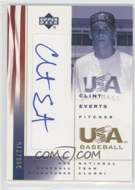 2002 Upper Deck USA Baseball - Signatures #CE - Clint Everts /375
