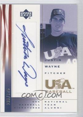 2002 Upper Deck USA Baseball [???] #JW - Justin Wayne /375