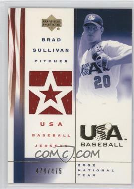 2002 Upper Deck USA Baseball Jerseys #US-BS - Brad Sullivan /475