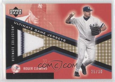2002 Upper Deck Ultimate Collection - Ultimate Game Jerseys - Tier 2 Gold #JF-RC - Roger Clemens /30
