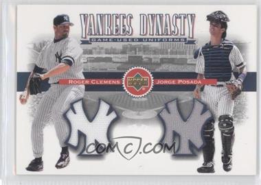 2002 Upper Deck Yankees Dynasty Game-Used Materials Combos #YB-CP - Roger Clemens, Jorge Posada