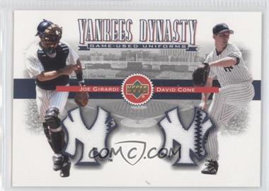 2002 Upper Deck Yankees Dynasty Game-Used Materials Combos #YB-GC - David Cone, Joe Girardi