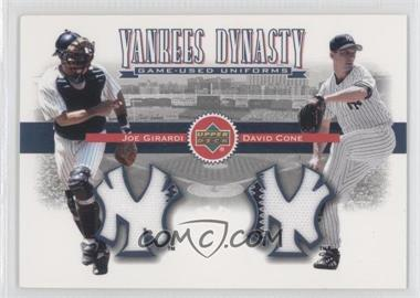 2002 Upper Deck Yankees Dynasty Game-Used Materials Combos #YB-GC - David Cone