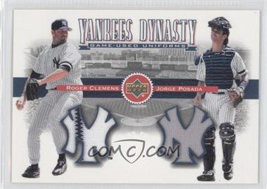 2002 Upper Deck Yankees Dynasty Game-Used Materials Combos #YJ-CP - Roger Clemens, Jorge Posada