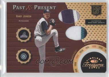 2003 Donruss Timeless Treasures Past & Present Materials Letters #PP-7 - Randy Johnson /75