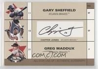 Gary Sheffield, Chipper Jones, Greg Maddux /50