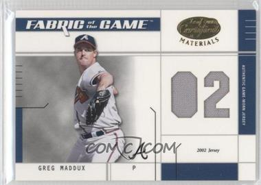 2003 Leaf Certified Materials Fabric of the Game #FG-110 - Greg Maddux /102