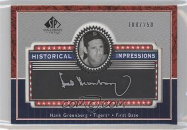 2003 SP Legendary Cuts - Historical Impressions - Silver #L-HG - Hank Greenberg /250