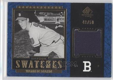 2003 SP Legendary Cuts Historic Swatches Blue #J-WS - Warren Spahn /50