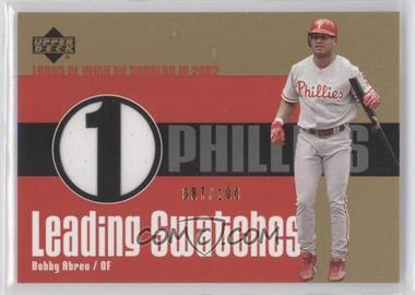 2003 Upper Deck Leading Swatches Gold #LS-N/A - Bobby Abreu /100