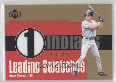 2003 Upper Deck Leading Swatches Gold #LS-OV - Omar Vizquel /100