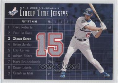 2003 Upper Deck Lineup Time Jerseys #LT-SG - Shawn Green